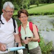 Senior couple rambling in countryside — Stock Photo #6703207