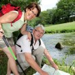 Senior couple rambling in countryside — Stock Photo #6703219