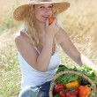Beautiful woman with basket of vegetables — Stock Photo #6703375