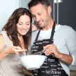 Couple having fun cooking — Stock Photo