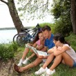 Family on a bicycle ride — Stock Photo #6704201