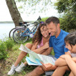Family on a bicycle ride - Photo