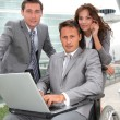 Man in wheelchair in business travel — Stock Photo