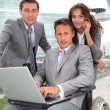 Stock Photo: Min wheelchair in business travel