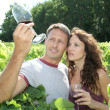 Royalty-Free Stock Photo: Couple of winegrowers in vineyard
