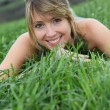 Stock Photo: Beautiful womin natural field