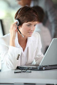 Businesswoman on a video conference — Stock Photo