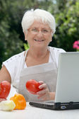 Elderly womanwith basket of fresh vegetables — Stock Photo