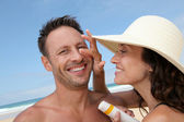 Happy couple at the beach — Stock Photo