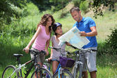 Family on a bicycle ride — Stock Photo