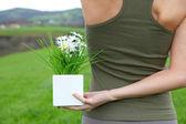 Beautiful woman in natural field — Stock Photo