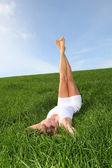 žena, která dělá fitness cvičení — Stock fotografie