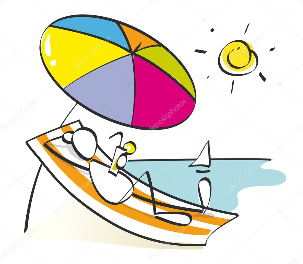 Man resting and enjoying the beach under a sun umbrella — Stock Vector #5730859