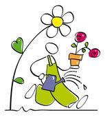 Funny gardener — Stock Vector