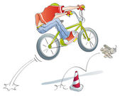 Boy practicing jumps bike — Stock Photo