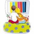 Stock Photo: Young couple watching tv