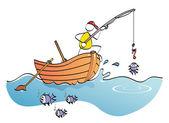 Funny fisherman — Stock Vector