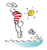 Funny swimmer — Stock Photo