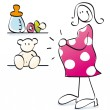Funny pregnant mother — Stock Photo