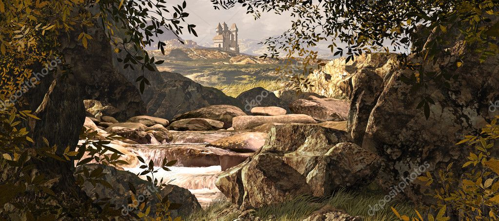 A County Kerry Ireland landscape with stream and medieval castle in the far distances.   Stock Photo #5677433
