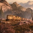 Diesel Locomotive In Rockies — Stock Photo #5704620