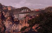 Train And Bridge Over Southwest Canyon — Stock Photo