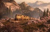 Diesel Locomotive In The Rockies — Stock Photo