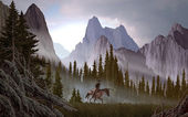 Cowboy In The Rockies — Stock Photo