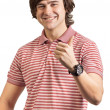 Portrait of a young man, thumbs up isolated on white — Stock Photo