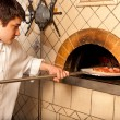 Stok fotoğraf: Process of preparing pizza