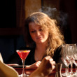 A beautiful woman at the bar — Foto Stock