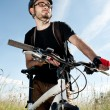 Closeup of a young biker — Stockfoto #5741062