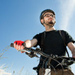 Stok fotoğraf: Closeup of a young biker