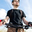 Closeup of a young biker — Foto Stock