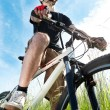 Closeup of a young biker — Stockfoto