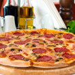 Closeup of a pizza with salami and mushrooms — Stock Photo #5741798