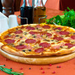 Closeup of a pizza with salami and mushrooms — Stock Photo #5741800