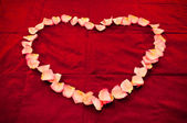Heart shape made from rose petals — Stock Photo