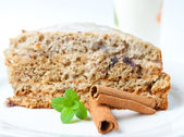 Nice cake with mint and cinnamon isolated on white — Φωτογραφία Αρχείου
