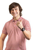 Portrait of a young man, thumbs up isolated on white — Stockfoto