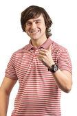 Portret van een jonge man, duimen omhoog geïsoleerd op wit — Stockfoto