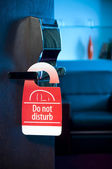 "This is a closeup of a ""do not disturb"" sign — Stock Photo"