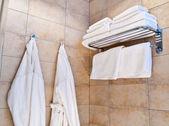 This is a closeup of white bathrobes — Stock Photo
