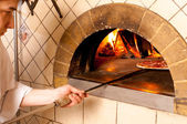 Chef making a Pizza Base — Fotografia Stock
