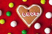 Heart shape made from gingerbread — Stock Photo