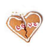 Broken heart cookies isolated on white. — Stock Photo