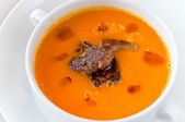 Pumpkin soup with foie gras — Stockfoto