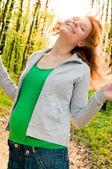 Young pregnant woman having fun — Stock Photo