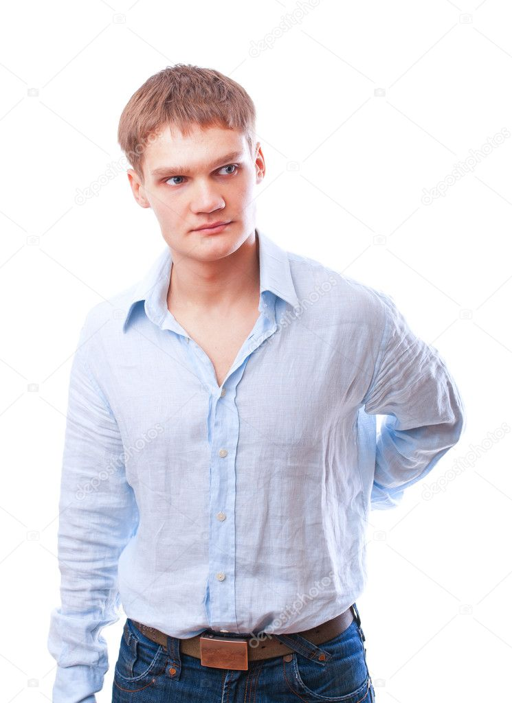 Portrait of a young man isolated over white background — Stock Photo #5741484