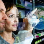 Futuristic Business Screen — Stock Photo